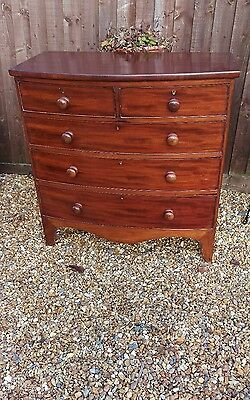 antique bow fronted 2 over 3 mahogany veneer chest of graduated  drawers