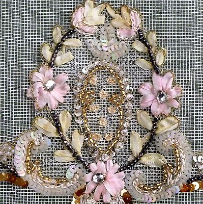 Antique French Hand Embroidered Silk Ribbon Beads Metal Sequins Appliques