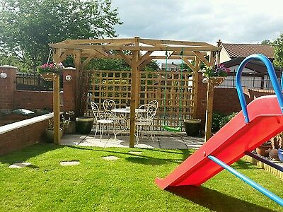 Wooden Garden pergola 4m x 2m x 2.1m high pressure treated timber solid