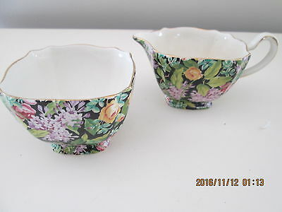BLACK BEAUTY Chintz by Lord Nelson England 1950's Sugar & Creamer