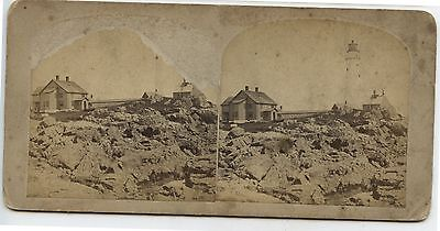 Antique Stereoview Lighthouse & Residence by Geo.W.Tirrell Boston