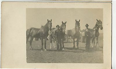 Old Vintage Postcard RPPC Real Photo 2 Men Holding  Horses on Prarie