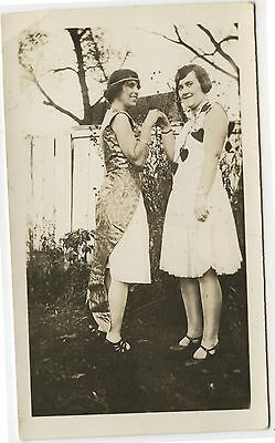 Old Vintage B/W Photo 2 Young Women in Costumes Outdoors Hearts Etc