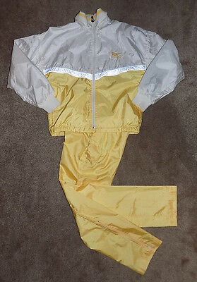 Asics Tiger Vtg Yellow White Shimmer Shiny Windbreaker Jacket Pants Tracksuit M