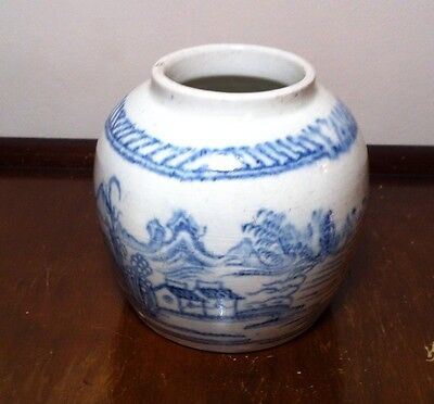 Chinese Blue And White Ginger Jar 19th Century Vase Bowl
