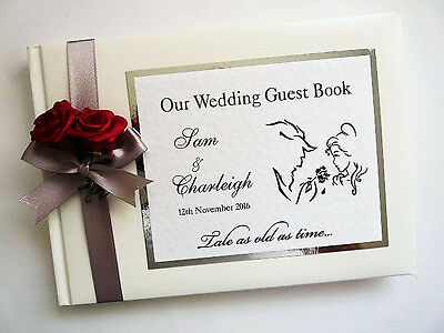 Beauty And The Beast Personalised Wedding Guest Book (Silver)