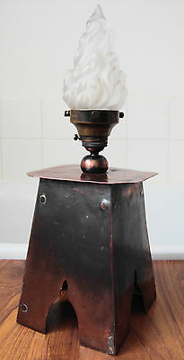 """Original Arts & Crafts Copper Table Lamp - Holophane Glass Flame Shade ~ 16""""tall"""