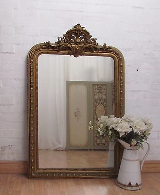 A Gorgeous Large Antique French Crested Gilt Gesso Mirror - C1900