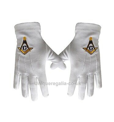 Masonic White Cotton Glove with Square Compass and G