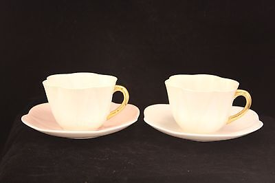 Vintage Shelley England - Pink and Green Pastel - Cup and Saucers - 4 Pieces