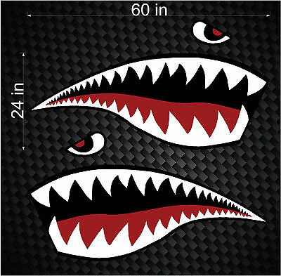 "Pair of 60"" Fighter Flying Tigers Shark Teeth Mouth w/ Eye side graphics wrap"