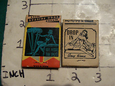 vintage Matches 1930's or 40's: 2 Drop in any time & we sere the best GIRL ART