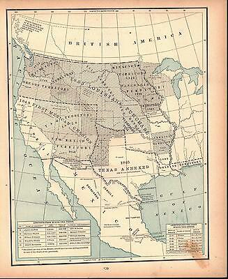 Period of United States Expansion West Antique Colored Map 1887