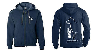 Siberian Husky Dog Breed Hoodie, Exclusive Dogeria Outline Design,Men's & Ladies