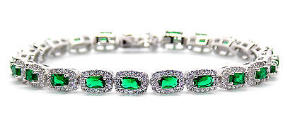 Sterling Silver Emerald And Diamond 14.86ct Tennis Bracelet (925)