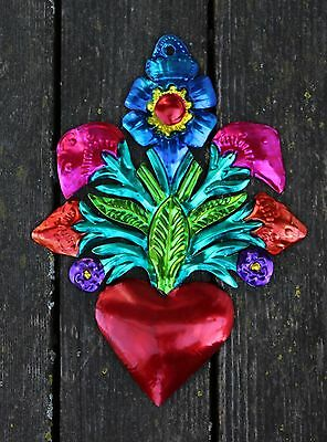 Mexican Hand Made Tin Milagros, Bouquet of Flowers with Heart, Love Token Amore