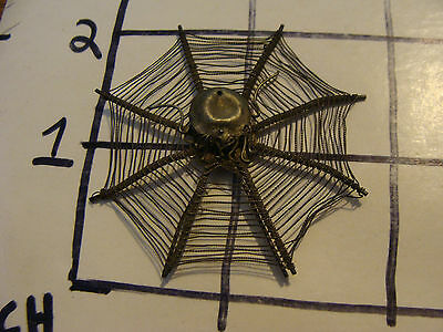 Vintage Jewerly: SPIDER IN WEB, very thin metal, victorian, a pin perhaps point