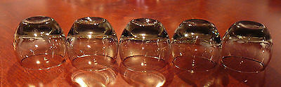 5 vintage GRAY SMOKE GLASS ROLY POLY SHOT GLASSES