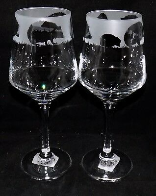 """New Etched """"HEDGEHOG WINE GLASS(ES)""""  - You can purchase 1 or 2 - Beautiful Gift"""