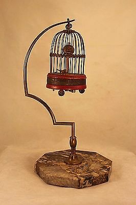 Unusual Antique Hanging Bird Cage on a Stand Clock - Marble Base - Needs TLC