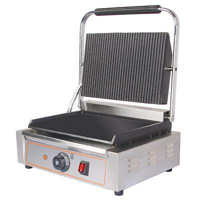 Heavy Duty Electric Ribbed & Flat Plates Panini Sandwich Toaster Machine Grill