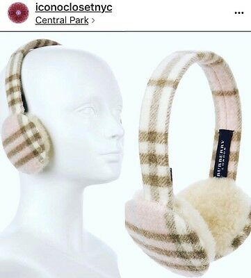 Authentic BURBERRY Nova Check Cashmere Earmuffs Made In England One Size