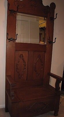 ANTIQUE American Tiger Oak Hall Tree w Mirror Seat and Hooks LOCAL PICK UP ONLY