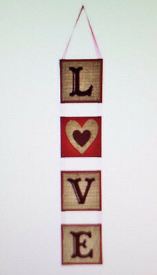 "Valentine's Day Wall Or Door Sign LOVE Burlap Hanging Party Decor 25"" Long"