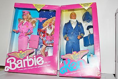 Flight Time Barbie & Ken Dolls Gift Sets never removed from box 1989 MINT