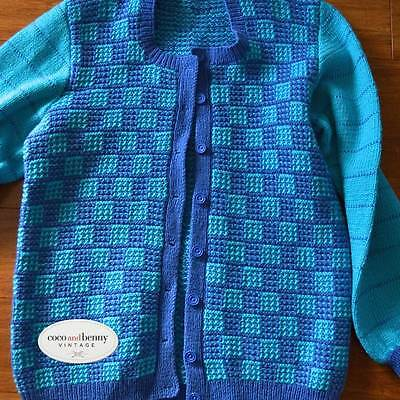 *Vintage Pure Wool Turquoise & Blue Mixed Stitch Hand Knitted Cardigan Medium