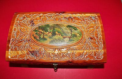 Vintage Wooden Scenic Jewelry Box Good Condition With Floral Carvings