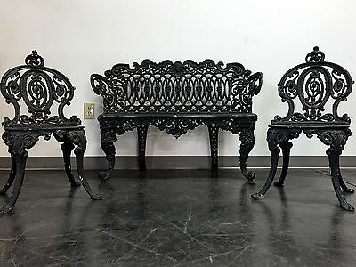 ADAMS NAVILLUS Antique Cast Iron Garden Furniture Set - Bench + 2 Chairs