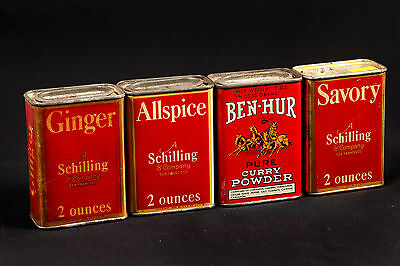 Lot of 4 VTG Schilling Ben Hur Spices Retro Kitchen Ginger Allspice Savory Curry