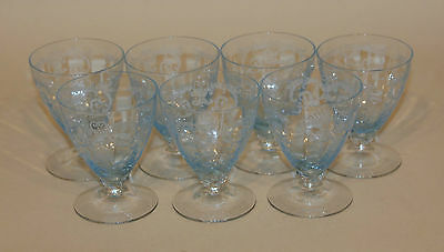 7 Fostoria Versailles Blue 3-3/4 Inch Footed Oyster / Fruit Cocktail Tumblers