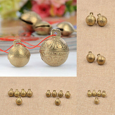 Brass Carved Tiger Bell DIY Fengshui Bracelet Pendant Handmade Craft Gift New