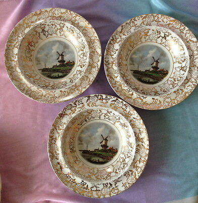 ♡ 3 Bowls Dishes Gold Chintz Border The Mill Lord Nelson Ware