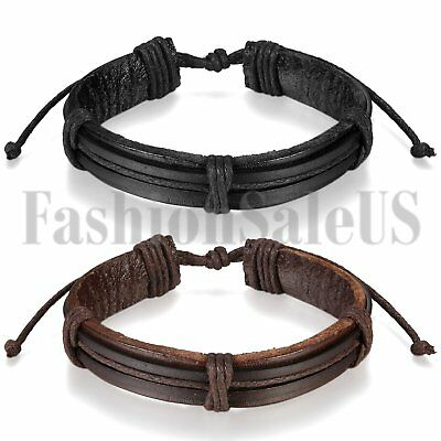 Fashion Men's Women's Punk Trible Handmade Leather Cuff Bracelet Wristband Gift