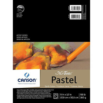 NEW Canson Mi-Teintes Pastels Paper Pad 9 inch X12 inch Earth Tones 24 Sheets