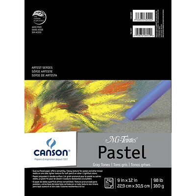 NEW Canson Mi-Teintes Pastels Paper Pad 9 inch X12 inch Gray Tones 24 Sheets