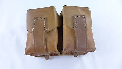 Vintage WWII Leather Double Ammo Pouch Bullet