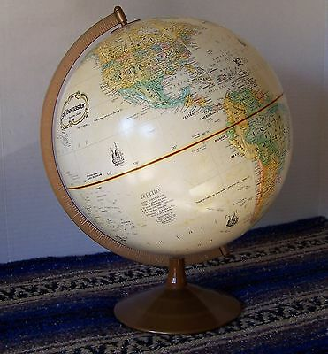 "Replogle Vintage Globemaster 12"" Raised Relief Globe w/ Flying Saucer Metal Base"