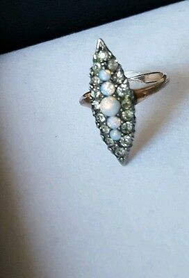 Antique Diamond Paste Opal Navette Gold Ring Size 7.5 Marquise Victorian
