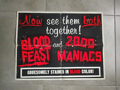 BLOOD FEAST / 2000 MANIACS half sheet - HERSCHELL GORDON LEWIS gore double bill