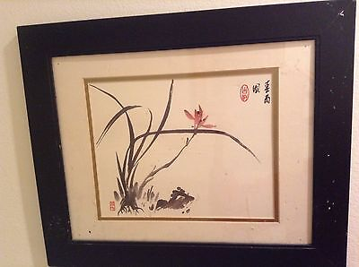 Hand painted Original Asian watercolor painting Signed / Framed -- Estate Find