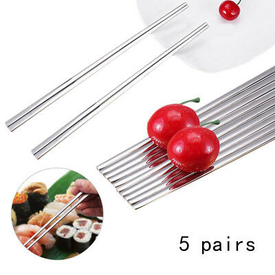 5 Pairs Home Kitchen Dining 23cm Stainless Steel Polished Square Chopstick Set