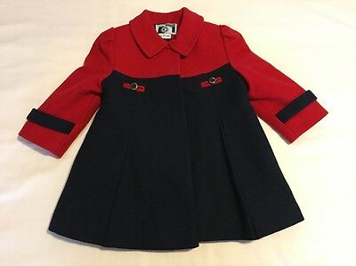 Young Gallery Toddler Girl's Vintage Red and Navy Wool Coat, Size 3T, EUC