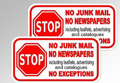 no junk mail, no newspapers  2 x for letterbox mail door vinyl sticker decal