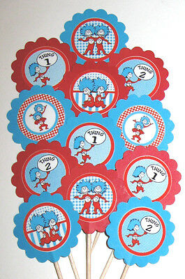 Dr Seuss Thing 1 Thing 2 Cupcake Toppers/Party Picks  Item #268