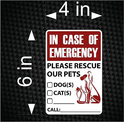 "6"" Emergency Pet Safety Alert Dog Cat Rescue Decal Sticker Sign for Window Door"