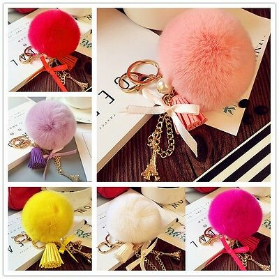 Soft Faux Rabbit Fur Ball PomPom Cell Phone Car Pendant Handbag Key Chain Ring